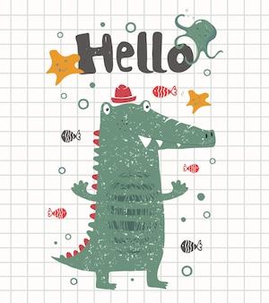 Leuke vrolijke krokodilcartoon met de hand getekend kan worden gebruikt voor het afdrukken van babyt-shirts