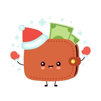 Leuke vrolijke portemonnee in kerstmuts en handschoenen