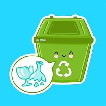 Leuke vrolijke vuilnisbak voor glas