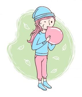 Leuke vrouw waait ballonnen illustratie