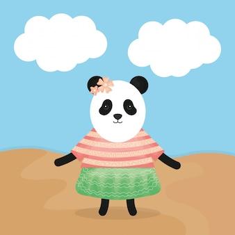 Leuke vrouwelijke beer panda met kleding karakter