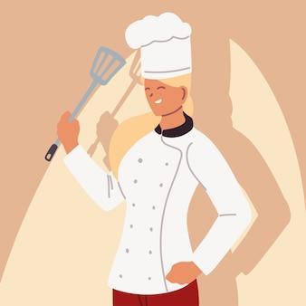 Leuke vrouwelijke chef-kok in eenvormig illustratieontwerp