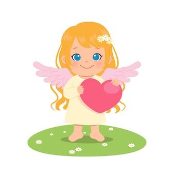 Leuke vrouwelijke engel die een groot hart houdt. valentijnsdag. vlakke stijl stripfiguur.