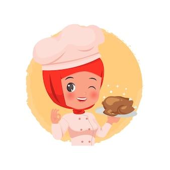 Leuke vrouwelijke hijab-chef-kok die een kippenmaaltijd met smakelijk handgebaarlogo houdt