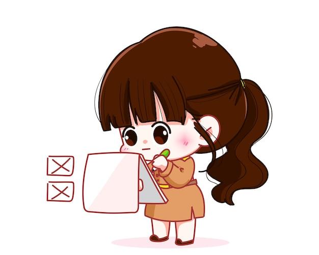 Leuke vrouwelijke leraar in overheidsuniform controleren op checklist karakter cartoon kunst illustratie