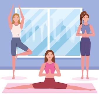 Leuke vrouwen die yoga doen