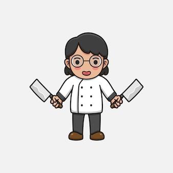 Leuke vrouwenchef-kok met slagersmessen