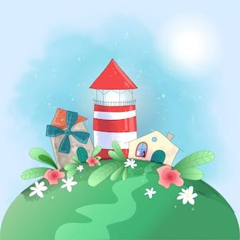 Leuke vuurtoren van de beeldverhaal kleine stad, molen en huis met bloemen,