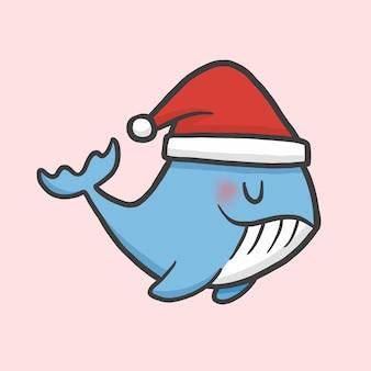 Leuke walvis kostuum kerst hand getekend cartoon stijl vector