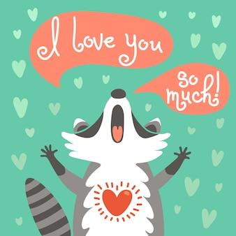 Leuke wasbeer bekent zijn liefde. Premium Vector