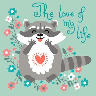 Leuke wasbeer bekent zijn liefde.