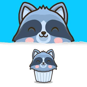 Leuke wasbeer cupcake, dierlijk karakterontwerp.