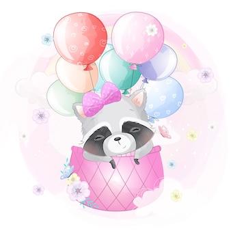 Leuke wasbeer die met luchtballon vliegt
