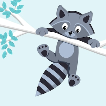 Leuke wasbeer die op tak hangt. platte vectorillustratie.