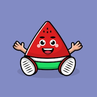 Leuke watermeloen cartoon afbeelding