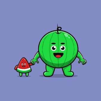 Leuke watermeloen cartoon geïsoleerd op paars