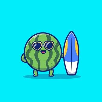 Leuke watermeloen holding surfboard cartoon vectorillustratie pictogram. zomer fruit pictogram concept geïsoleerd premium vector. flat cartoon stijl