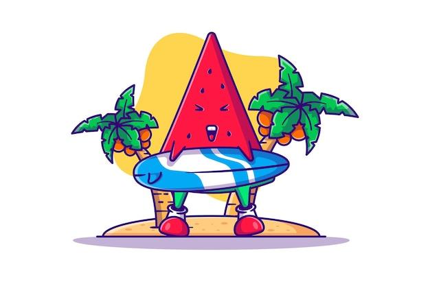 Leuke watermeloen met surfplank cartoon afbeelding