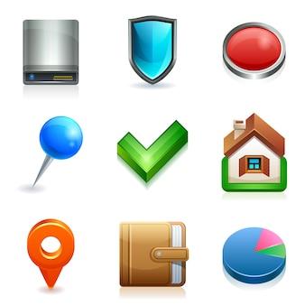 Leuke webpictogrammen. harde schijf, schild, knop, pin, cheque, huis, portemonnee, grafiek