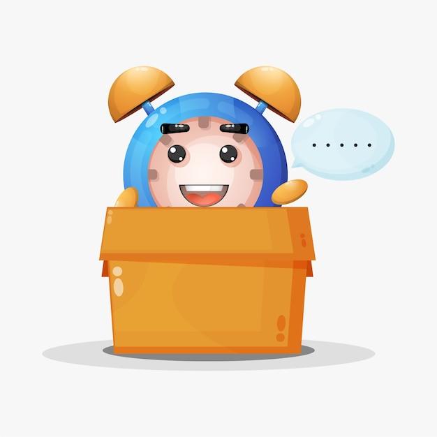 Leuke wekker mascotte in de doos