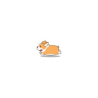 Leuke welse corgi hond lopende cartoon
