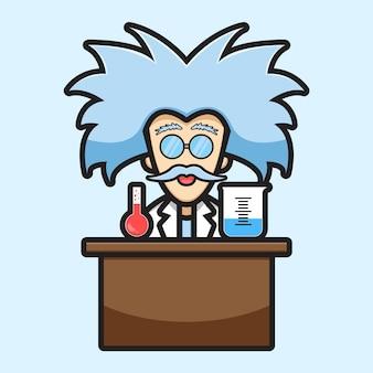 Leuke wetenschapper karakter experiment chemische cartoon pictogram vectorillustratie. wetenschap technologie pictogram concept geïsoleerde vector. platte cartoonstijl