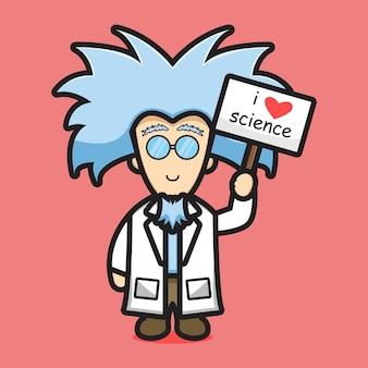 Leuke wetenschapper karakter liefde wetenschap cartoon pictogram vectorillustratie. wetenschap technologie pictogram concept geïsoleerde vector. platte cartoonstijl