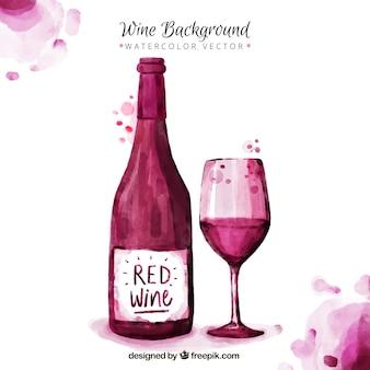 Leuke wijn achtergrond beschilderd met waterverf