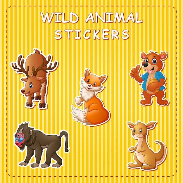 Leuke wilde dierencartoon op sticker