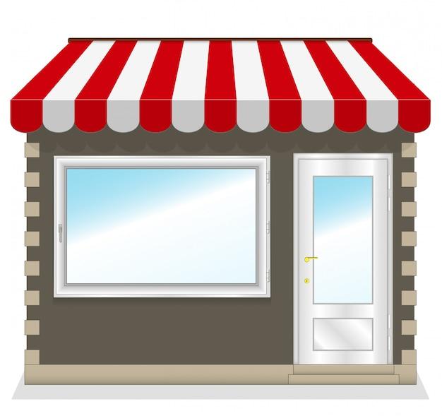 Leuke winkel met rode luifels