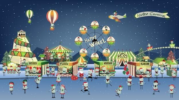 Leuke winter carnaval cartoon op nacht.