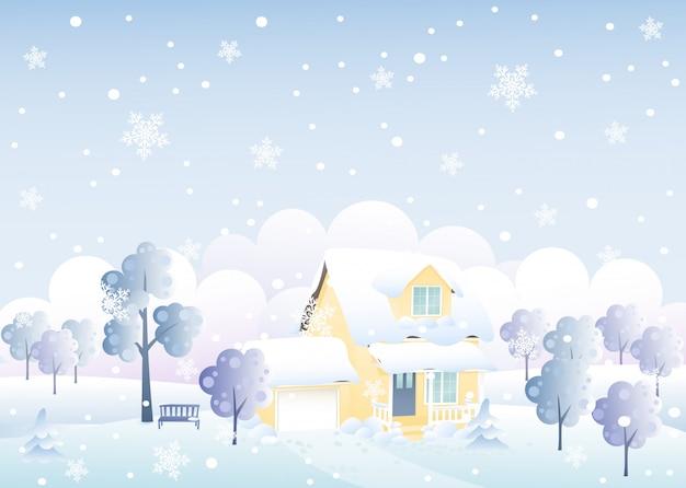 Leuke winter huis illustratie