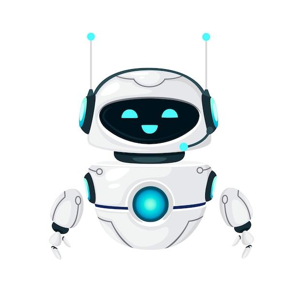 Leuke witte moderne zwevende robot met blij gezicht platte vectorillustratie geïsoleerd op een witte achtergrond.