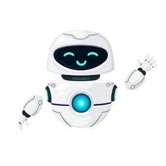 Leuke witte moderne zwevende robot zwaaiende hand en met blij gezicht platte vectorillustratie geïsoleerd op een witte achtergrond.