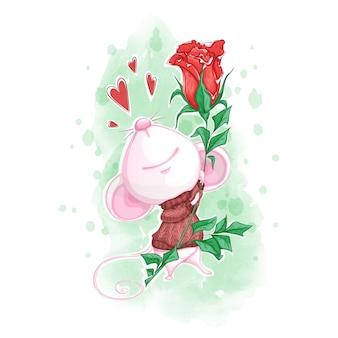 Leuke witte muis in een gebreide trui met een rode roos in zijn poten.