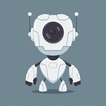 Leuke witte robot met platte stripfiguur lens geïsoleerd op de achtergrond.