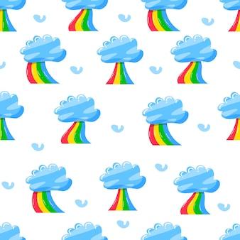 Leuke wolken met regenboog in plat handgetekend patroon