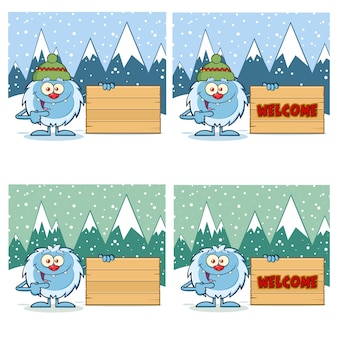 Leuke yeti cartoon mascotte tekenset