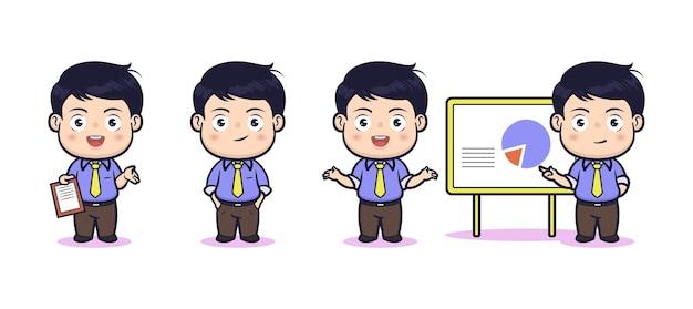 Leuke zakenman in poses character design