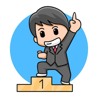Leuke zakenman winnaar cartoon afbeelding