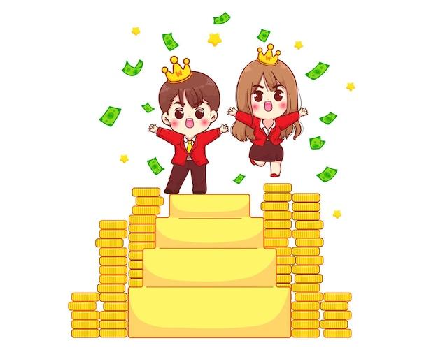 Leuke zakenvrouw en zakenman in pak succesvolle stand op trappen tekens cartoon kunst illustratie