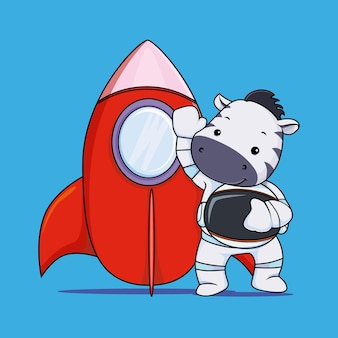 Leuke zebra-astronaut met rode raket cartoon illustratie vector premium