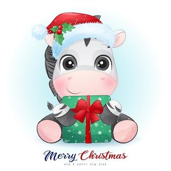 Leuke zebra voor eerste kerstdag met aquarel illustratie