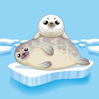 Leuke zeehonden familie cartoon karakter ontwerp illustratie
