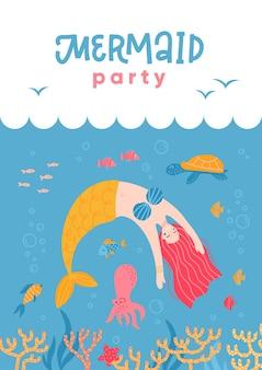 Leuke zeemeermin en zeeleven-cartoon voor feestuitnodigingskaart