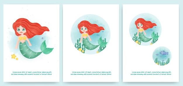 Leuke zeemeermin in waterkleurstijl voor wenskaart, verjaardagskaart,