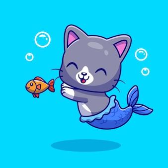 Leuke zeemeermin kat met vis cartoon vectorillustratie pictogram. dierlijke natuur pictogram concept geïsoleerd premium vector. platte cartoonstijl
