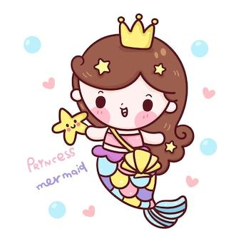 Leuke zeemeermin prinses cartoon met star fish kawaii illustratie