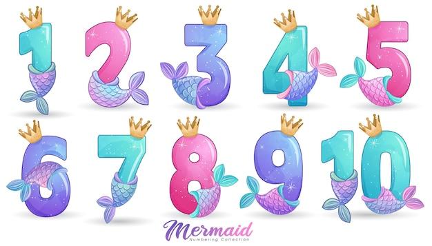 Leuke zeemeermin stijl nummering voor verjaardagsfeestje illustratie set Premium Vector