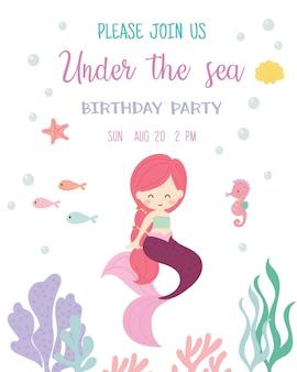 Leuke zeemeermin thema verjaardagsfeestje uitnodigingskaart.